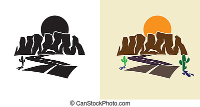 stylized illustration of the canyon road, cactus, against the setting sun
