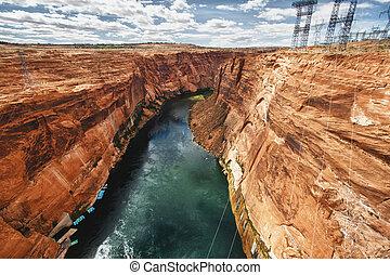 Canyon at Glen Dam in Page, Arizona - view of the canyon at...