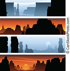 Cartoon banners of canyon backdrop scenics.