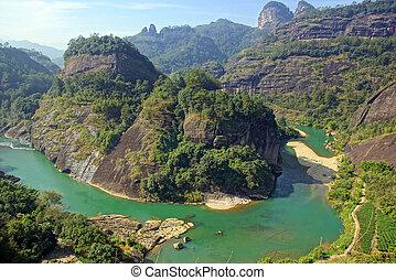 canyon, Cina,  wuyishan, provincia, montagna,  fujian