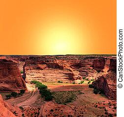 Canyon de Chelly - Sunrise at Canyon de Chelly Navajo indian...