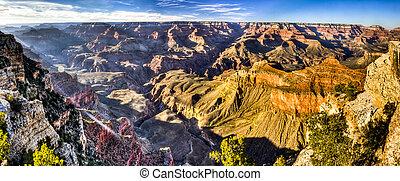 canyon, dinamico, sguardo, grande
