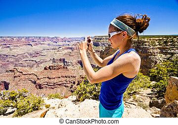 canyon, donna, fotografare, grande