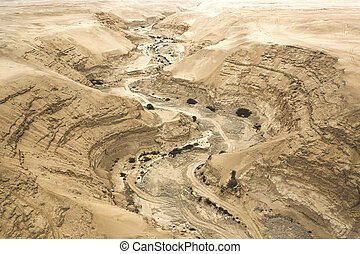 Canyon, dry river top view. Aerial view