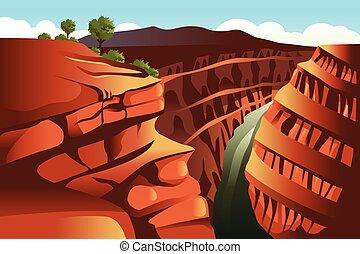canyon, fond, grandiose