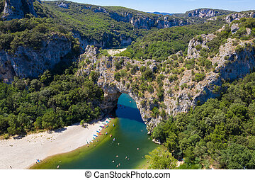 canyon, france, vallon, ardeche, narural, voûte, d'arc, vue ...