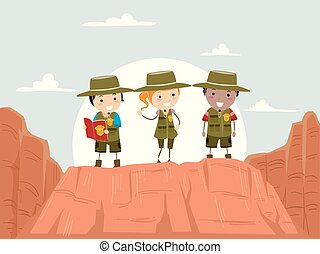 canyon, gosses, stickman, explorateur, illustration