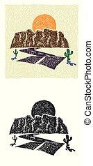 Canyon Hand-drawn illustration - Hand-drawn stylized canyon...