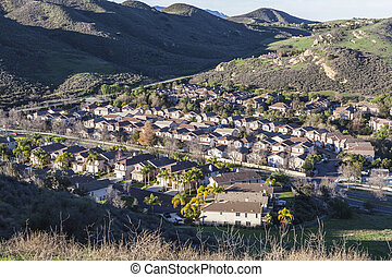 Canyon filled housing tract near Los Angeles in Simi Valley, California.