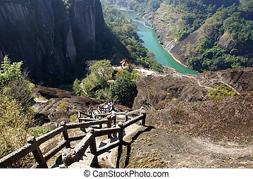 canyon, in, wuyishan, montagna, fujian, provincia, porcellana