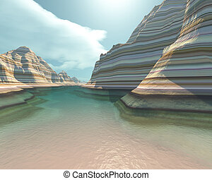 CANYON RIVER - A clear canyon river runs slowly down the...