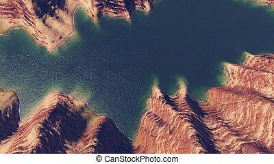 Canyon river top view