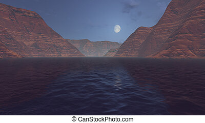 Canyon river under half moon