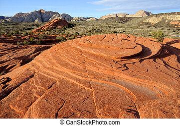 canyon, sable, pétrifié, -, neige, utah, dunes