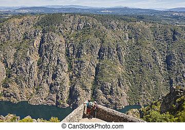 canyon., sil, ribeira, río, sacra, encima, route., galicia, punto de vista