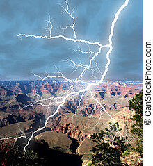 Canyon Storm - Lightening bolt stricking in the Grand Canyon...