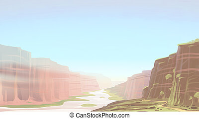 Canyon with river landscape.