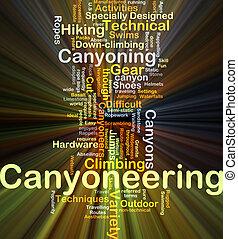 canyoneering, fundo, conceito, glowing
