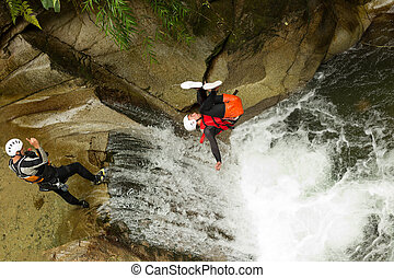 Canyoning Waterfall Stunt - Waterfall Backflip In The ...