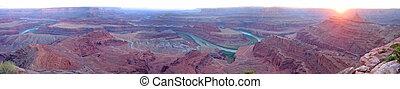 canyonlands, cheval, uni, colorado, point, etats, national, mort, grand, parc, panorama, rivière, coucher soleil