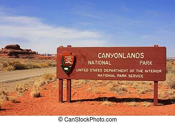 Canyonlands National Park sign, Utah, USA