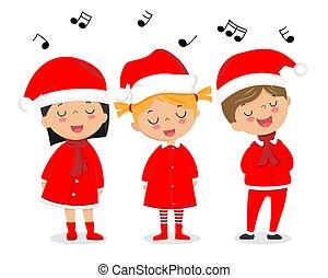 canzoni, bambini, vestito, canto, claus, natale, santa