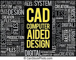 cao, -, conception assistée ordinateur, mot, nuage