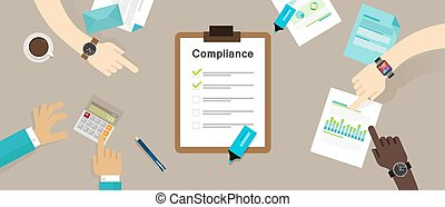 caompliance to regulation process standard industry company vector