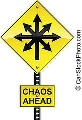 caos, à frente, sinal