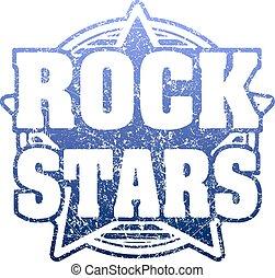 caoutchouc, étoiles, grunge, bleu, timbre, design., rocher