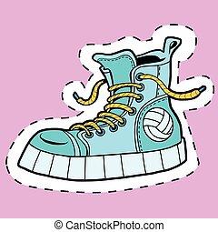 caoutchouc, autocollant, étiquette, chaussures, sports