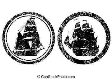 caoutchouc, bateaux, timbres, vieux