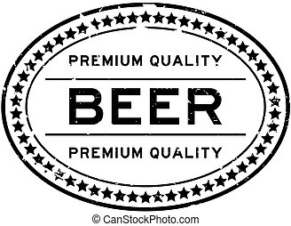 caoutchouc, bière, qualité, mot, ovale, blanc, timbre, prime, grunge, cachet, backgoround, noir