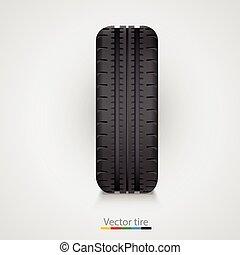 caoutchouc, blanc, arrière-plan noir, pneu