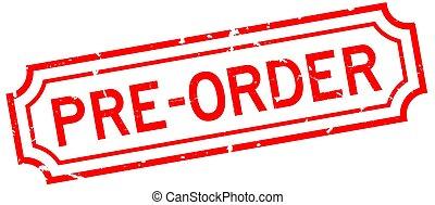 caoutchouc, business, pré, grunge, ordre, cachet, mot, blanc rouge, fond, timbre