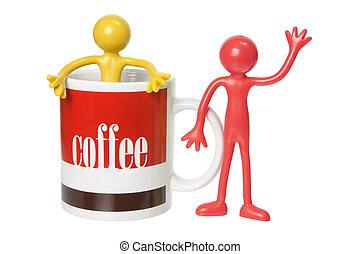 caoutchouc, café, figures, grande tasse