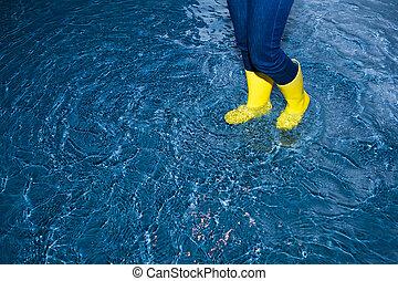 caoutchouc charge, marche, dans eau