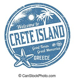 caoutchouc, crète, accueil, île, grunge, timbre