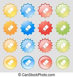 caoutchouc, ensemble, coloré, 16, grand, signe., moderne, boutons, vecteur, icône, gomme, ton, design.