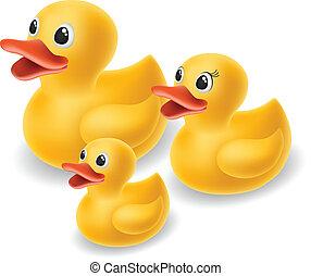 caoutchouc, famille, canard