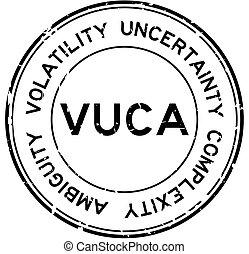 caoutchouc, fond, ambiguity), noir, blanc, vuca, mot, volatility, rond, cachet, (abbreviation, complexité, timbre, grunge, incertitude
