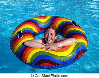 caoutchouc, girl, anneau, piscine, natation