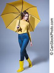 caoutchouc, girl, parapluie, bottes
