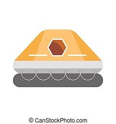 caoutchouc, gonflable, bateau, à, toit, isolé, blanc