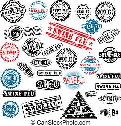 caoutchouc, grippe, timbres, grunge, porcs
