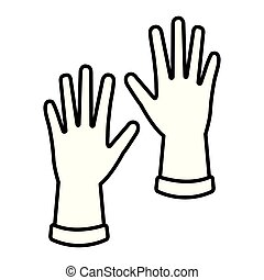 caoutchouc, industriel, gants, icône