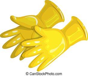 caoutchouc, jaune, gants