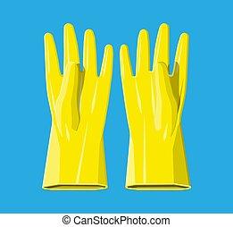 caoutchouc, jaune, gloves.