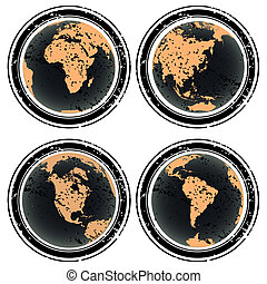 caoutchouc, la terre, timbres, globes