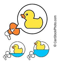 caoutchouc, mignon, duckies, jaune, porte-voix